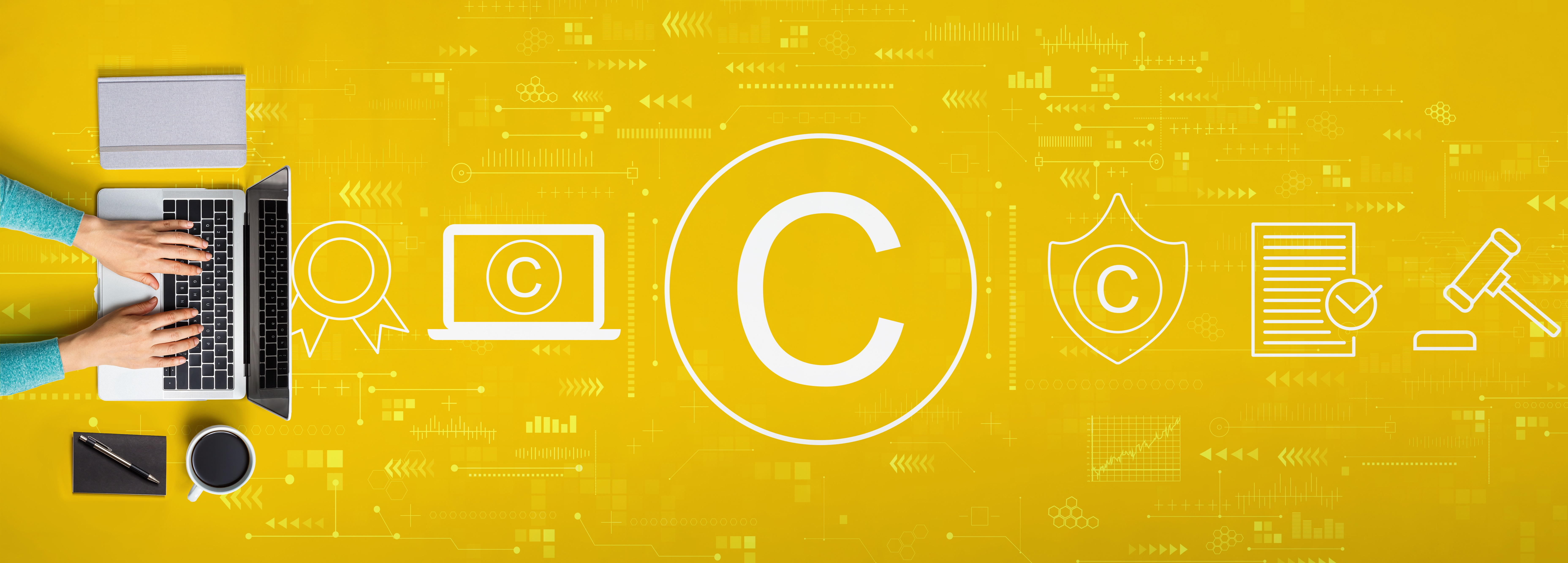 yellow banner with a series of symbols denoting the process of creation to patent-copyright protection - symbols show person working on a computer, then digital intellectual property, then patent-copyright application, then patent-copyright review, then patent-copyright approval and finally judge gavel protecting intellectual property